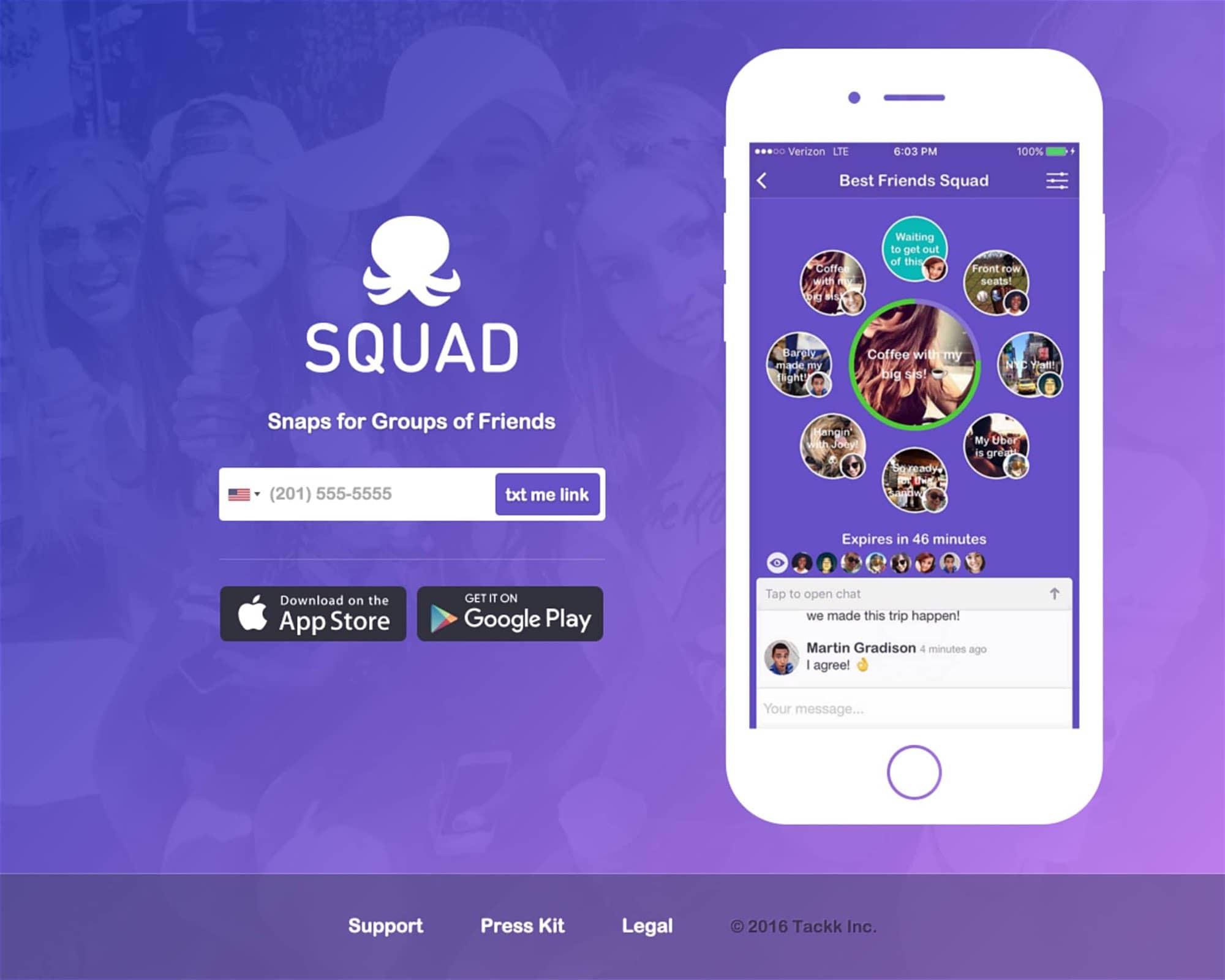 Squad — Social photo status app